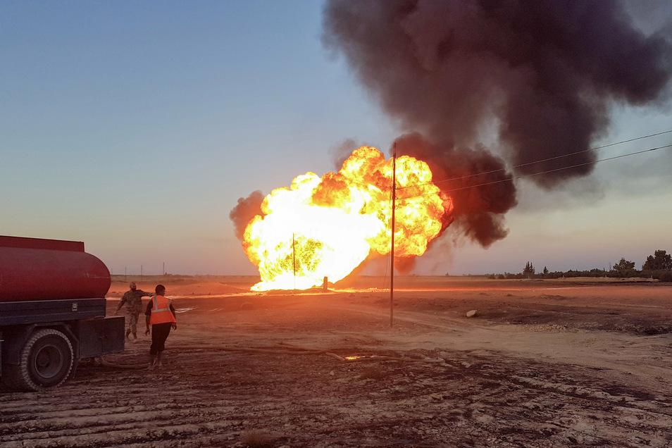 Aufnahmen aus Syrien zeigen das Ausmaß der Gaspipeline-Explosion.