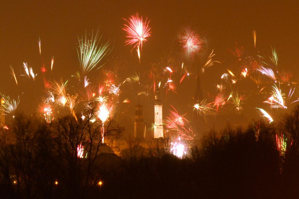 Eines der Silvesterfeuerwerke in Zittau.