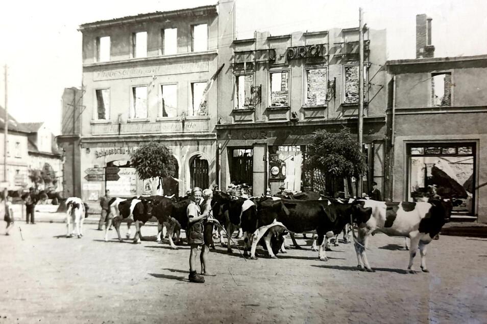 """An der Markt-Ostseite standen vor der Zerstörung unter anderem das Hotel """"Zum goldenen Anker"""", Kliches Brauerei und die Adler-Drogerie."""