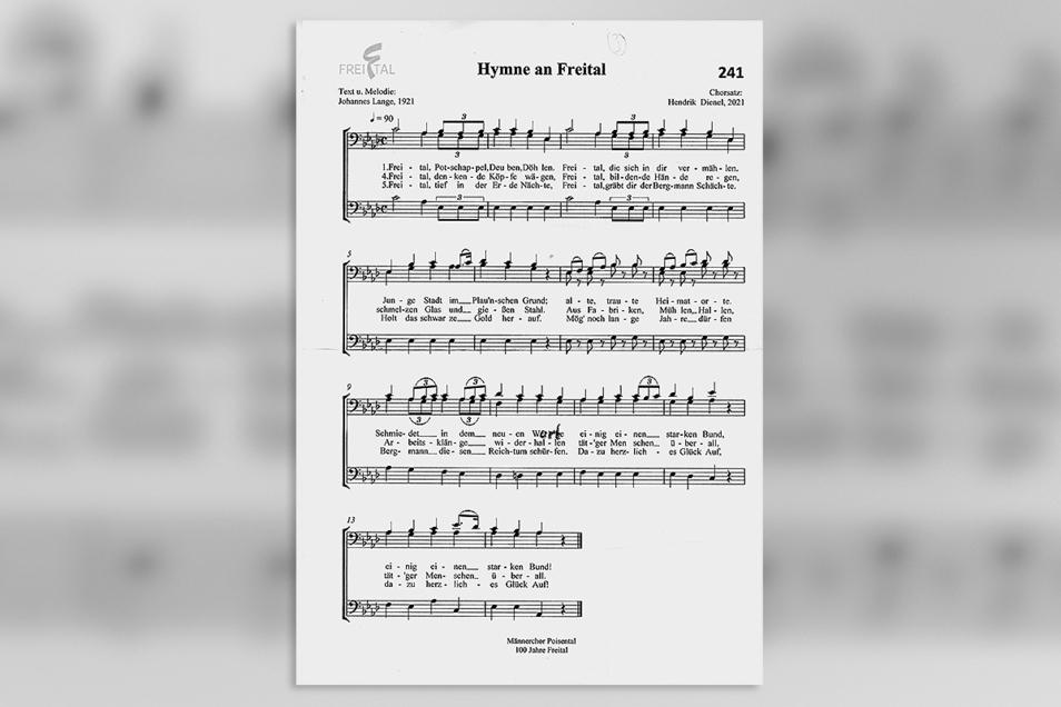"""Die ursprüngliche Fassung der im Herbst 1921 zur Stadtgründung von Johannes Lange komponierten """"Hymne an Freital""""."""