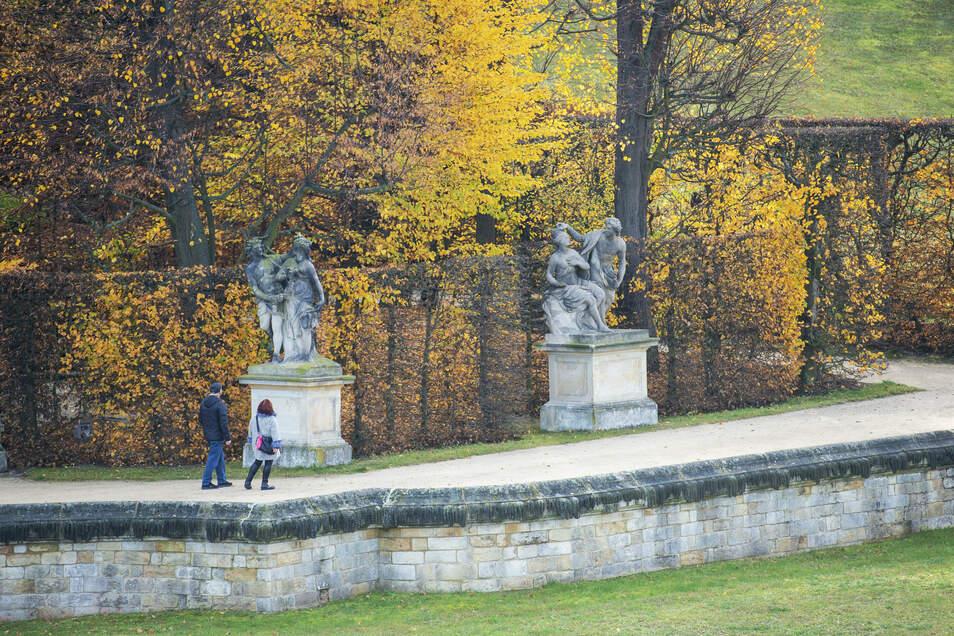 Eigentlich zu, während des Lockdowns aber wieder auf: der Barockgarten Großsedlitz.