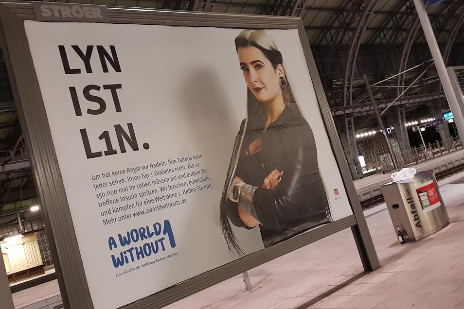 Im Frühjahr 2019 warb Lyn im Bahnhof Neustadt für mehr Aufmerksamkeit für Diabetes Typ 1.