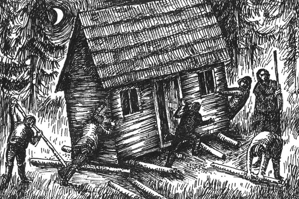 Von Freunden unterstützt, rollte ein armer Bergmann sein bescheidenes Häuschen über die Grenze nach Sächsisch-Zinnwald.