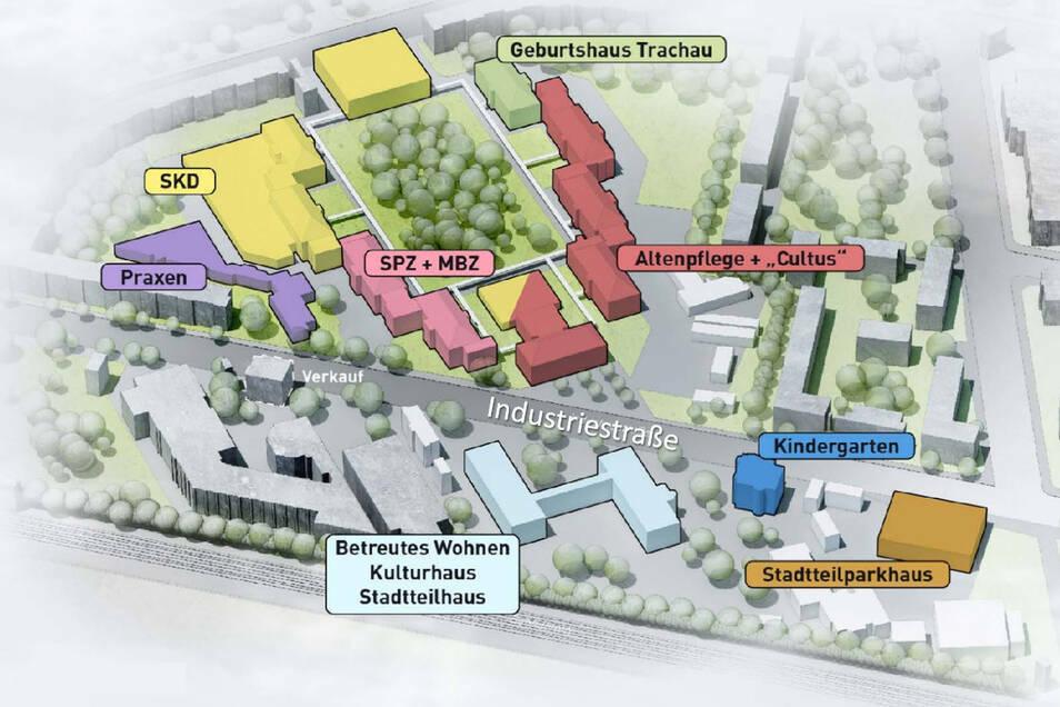 So so der Standort Trachau 2035 aussehen. Bis dahin bleibt die stationäre Versorgung im Krankenhaus Dresden-Neustadt erhalten.