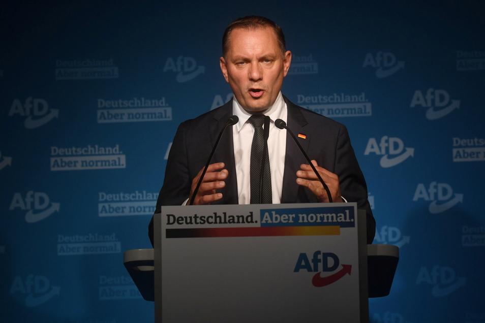"""Der sächsische AfD-Spitzenkandidat und Bundeschef Tino Chrupalla sah das Abschneiden der AfD """"insgesamt positiv""""."""