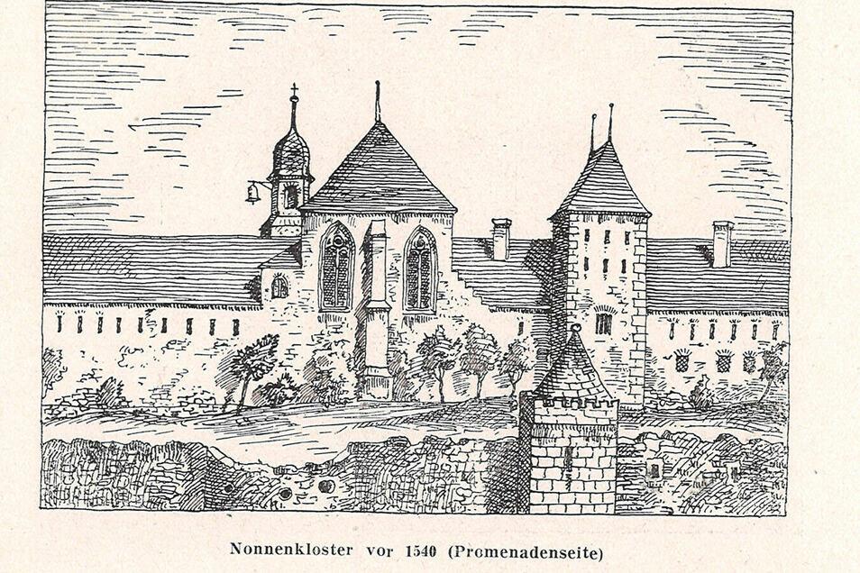 Das Kloster an der heutigen Bibliothek am Neumarkt, vom Musikerring aus gesehen.