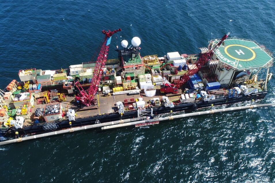 """Blick auf der Pipeline-Verlegeschiff """"Castoro 10"""". Derzeit ruhen die Verlegearbeiten jedoch."""