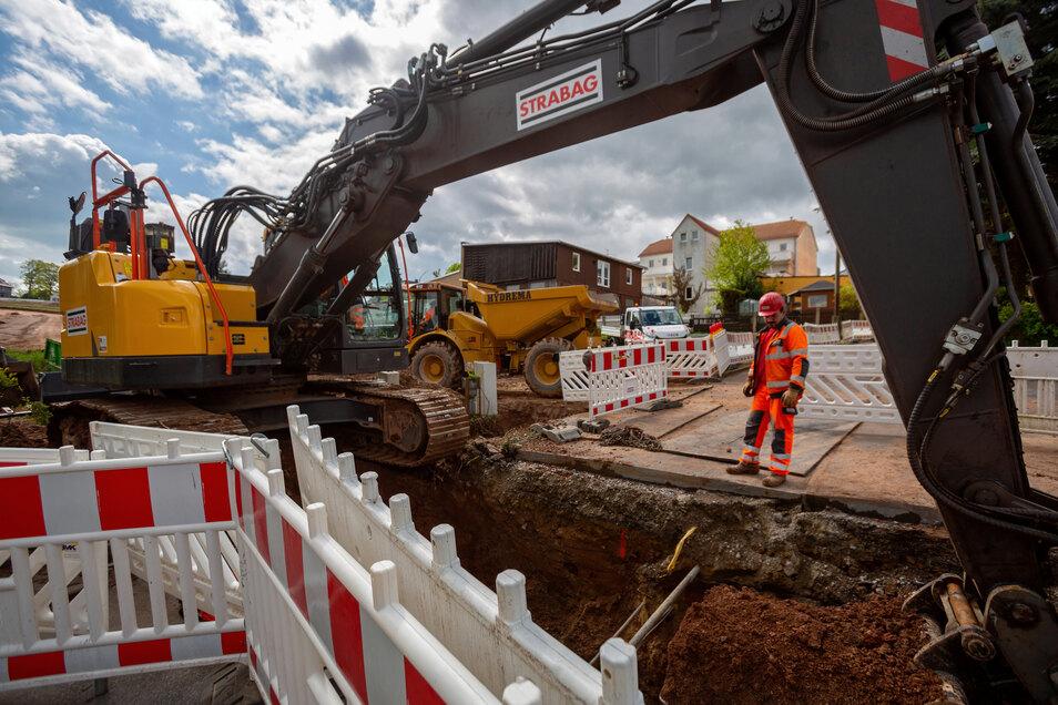 Bei den Erschließungsarbeiten für das neue Wohngebiet in Rabenau machten Bauarbeiter einen historischen Fund.