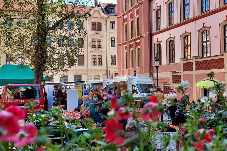 Der Grünmarkt im Hof der Roten Schule erfreut sich wachsender Beliebtheit.