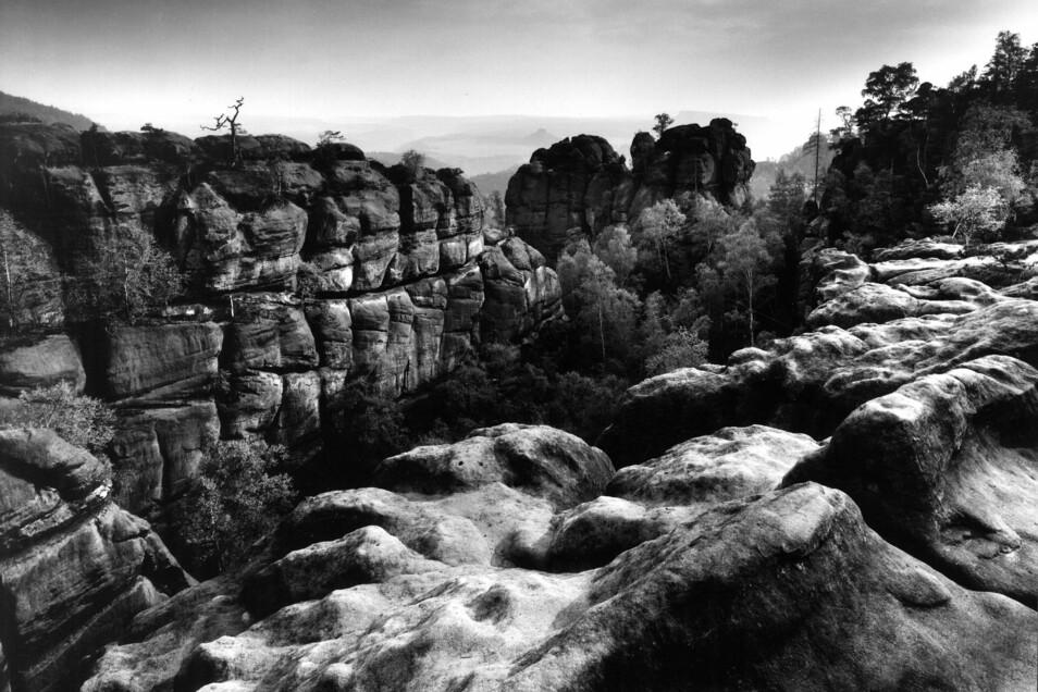 Die Neue Wenzelswand, Fluchtwand und Gerbingspitze im Jahr 1964. Fotografiert hat das Elbsandsteingebirge über Jahrzehnte der Dresdner Fotograf Wolfgang Krammisch.