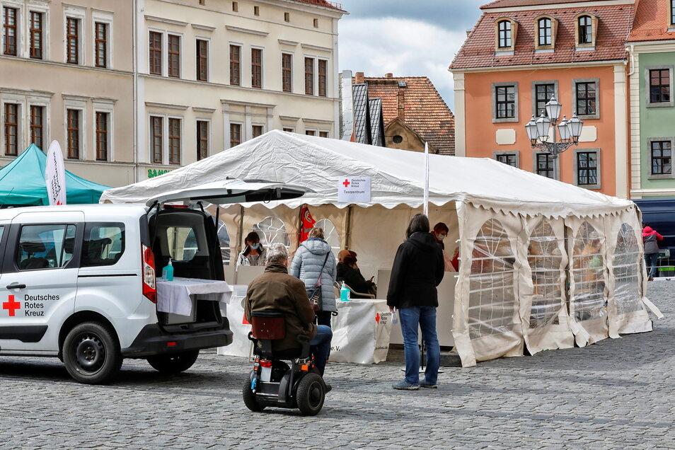 Wie schon in der vergangenen Woche wird auch am kommenden Dienstag wieder ein Testzentrum auf dem Löbauer Altmarkt errichtet.