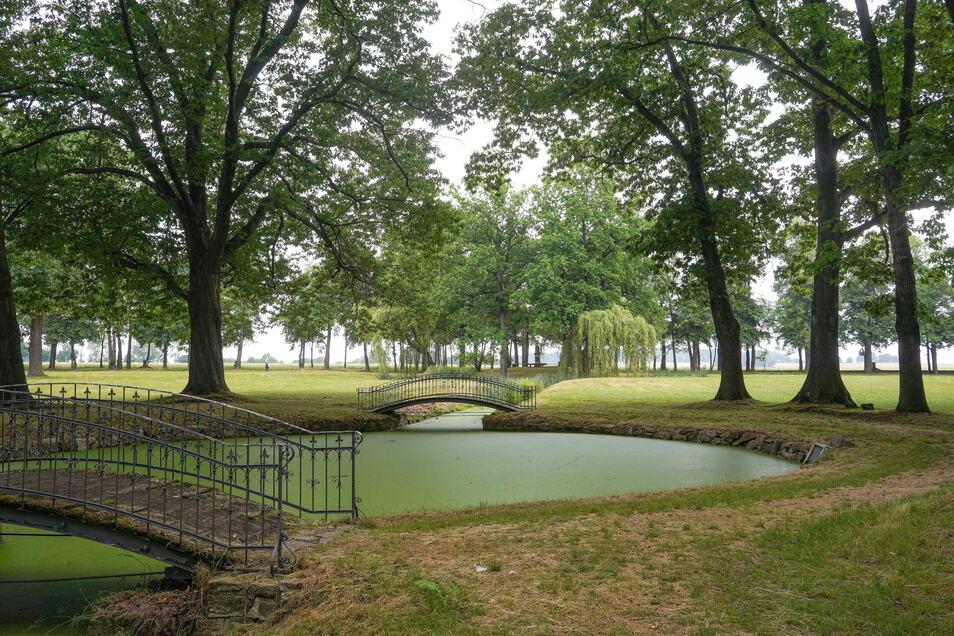 Teiche, Wassergräben und Brücken bieten im Schmochtitzer Park romantische Anblicke.
