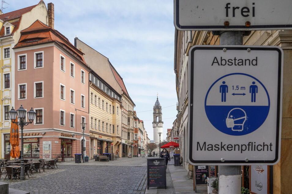 Die Reichenstraße in Bautzen ist menschenleer. Durch den Corona-bedingten Lockdown haben sich die Innenstädte in Lausitz verändert.
