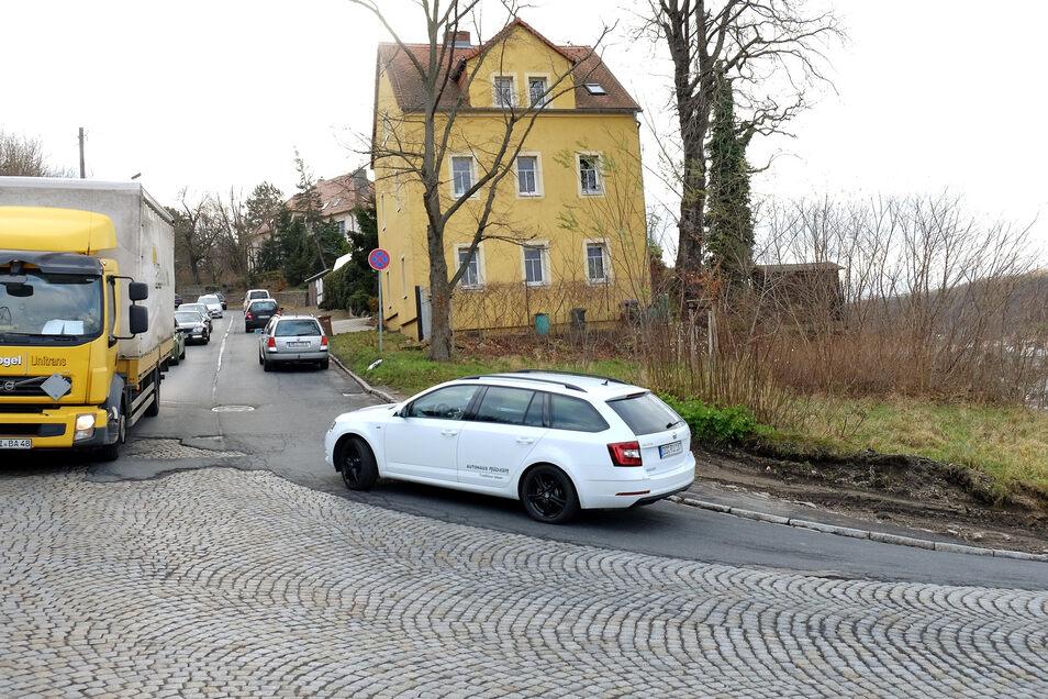 Am Plossen wird der massive Bewuchs von kleinen Bäumen und Sträuchern zurückgeschnitten. Dadurch muss die Wilsdruffer Straße halbseitig, mitunter auch voll gesperrt werden.