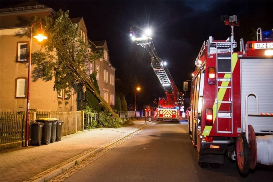 In Bischofswerda warf der der Sturm am Donnerstag gegen 18:45 Uhr einen Baum gegen ein Wohnhaus.
