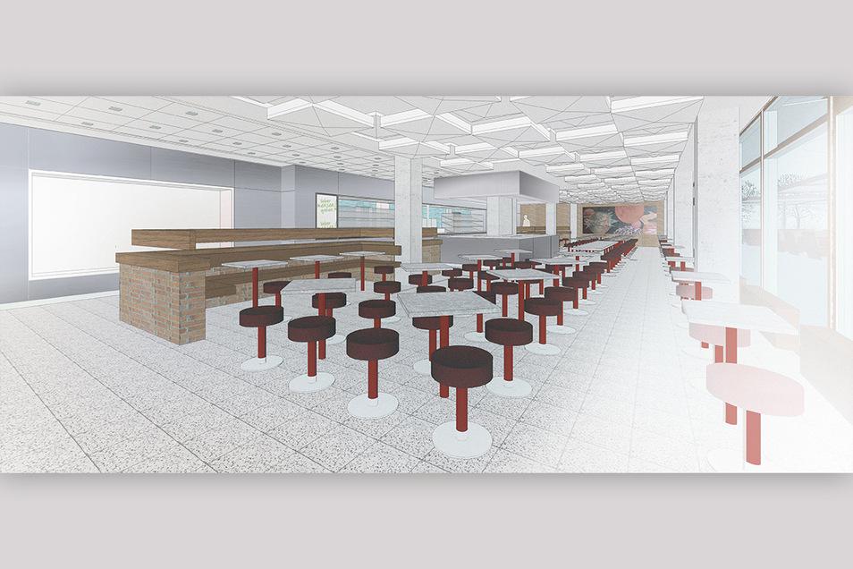 Die neue Cafeteria mit beweglichen Hockern und Tischen
