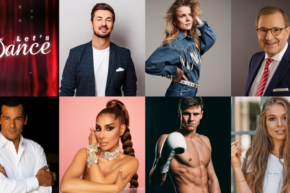 """""""Let's dance""""-Teilnehmer (v.l.): Nicolas Puschmann, Ilse DeLange, Jan Hofer, Erol Sander, Senna Gammour, Simon Zachenhuber und Lola Weippert"""