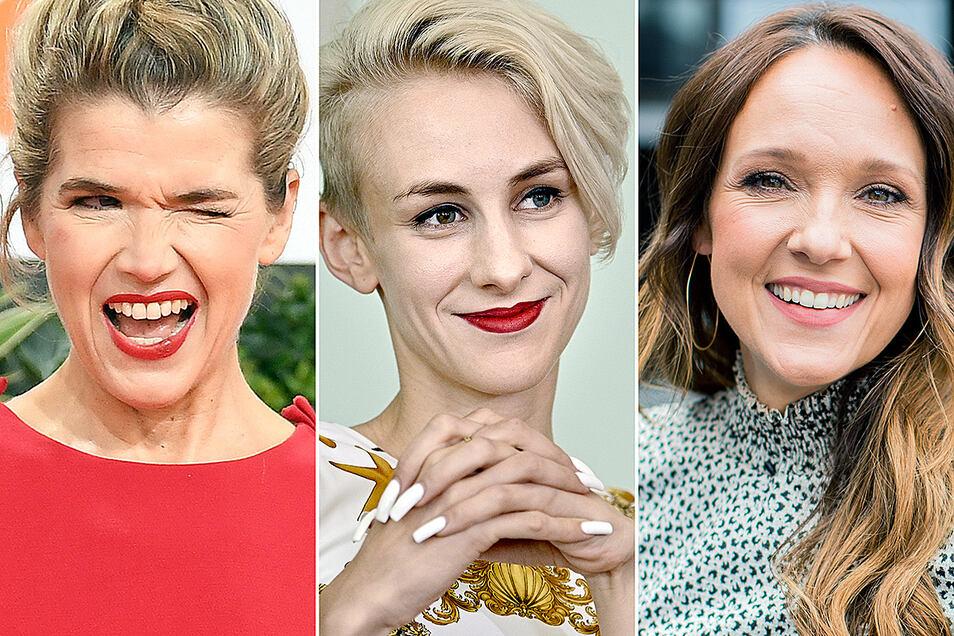 Anke Engelke, Lisa Eckart und Carolin Kebekus (v.l.n.r.) sind etablierte Künstlerinnen in der deutschen Comedy-Szene. Aber machen sie anders Witze als Männer?