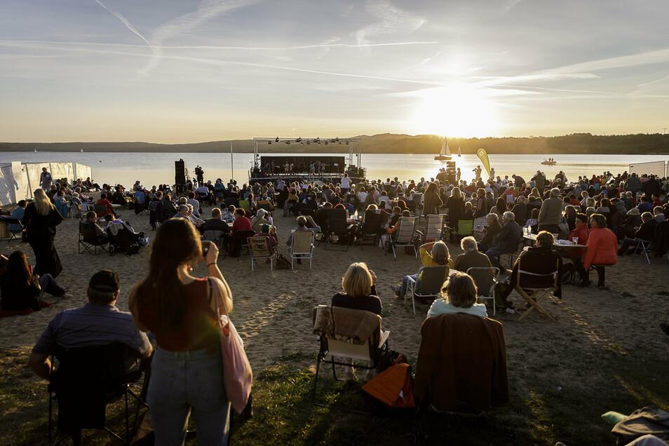 Das Panorama beim Sonnenuntergang am Berzdorfer See war beeindruckend.