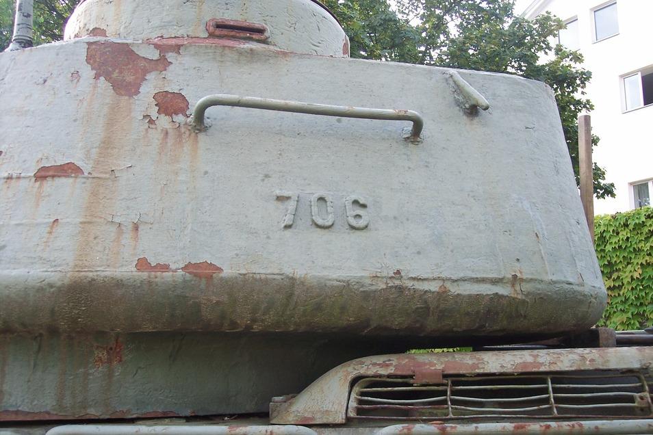 Aufgrund dieser Turmnummer konnte der Löbauer Garnisonverein den T34 eindeutig als den ehemaligen Sockelpanzer identifizieren.