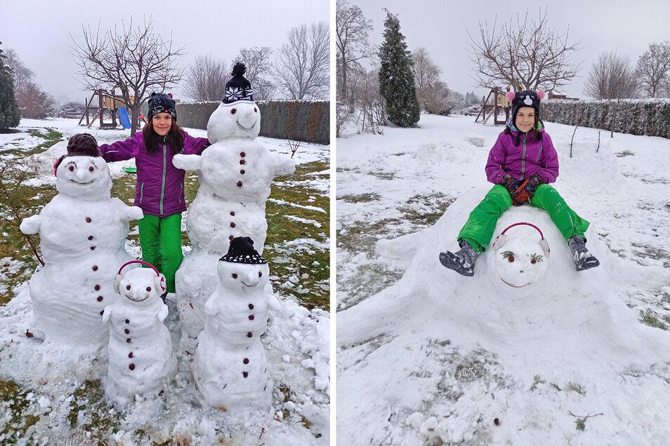 Lucys Kreationen aus Schnee.