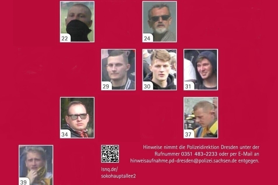 Polizei und Staatsanwaltschaft fahnden nach 20 weiteren Männern, die bei der Aufstiegsfeier von Dynamo Dresden Mitte Mai randaliert haben sollen.