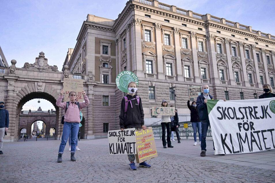 Greta Thunberg (vorne,M,l) und andere protestieren vor dem schwedischen Parlament Riksdagen.