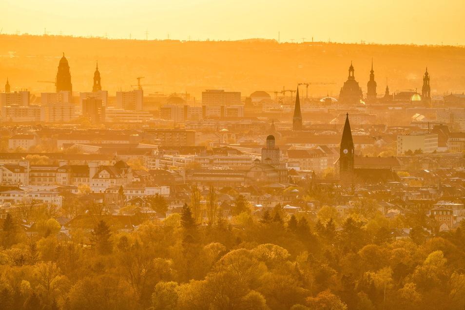 Sonnenuntergang über der Dresdner Altstadt: IN dieser Woche werden hochsommerliche Temperaturen erwartet.