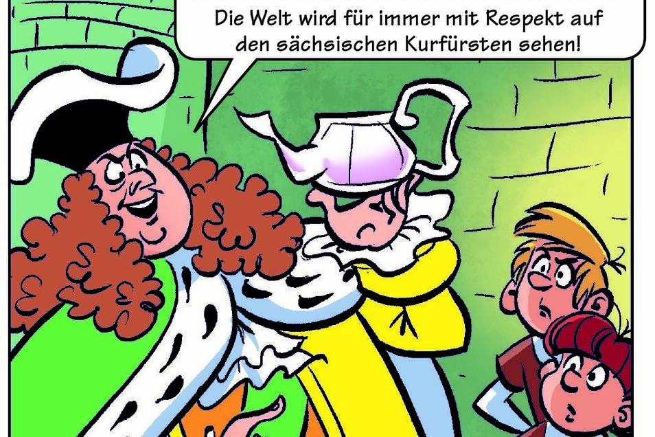 August der Starke ist einer der Helden in der Mosaik-Sonderausgabe, die Teilnehmer des Handball-Camps in Großröhrsdorf bekommen.