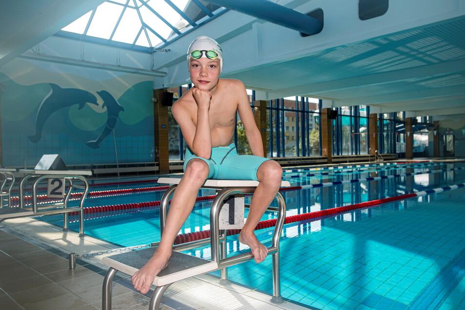 Finn Schoop trainiert seit seinem fünften Lebensjahr beim Ostsächsischen Schwimmverein Kamenz. Seit Schuljahresbeginn besucht er das Sport-Gymnasium in Dresden.