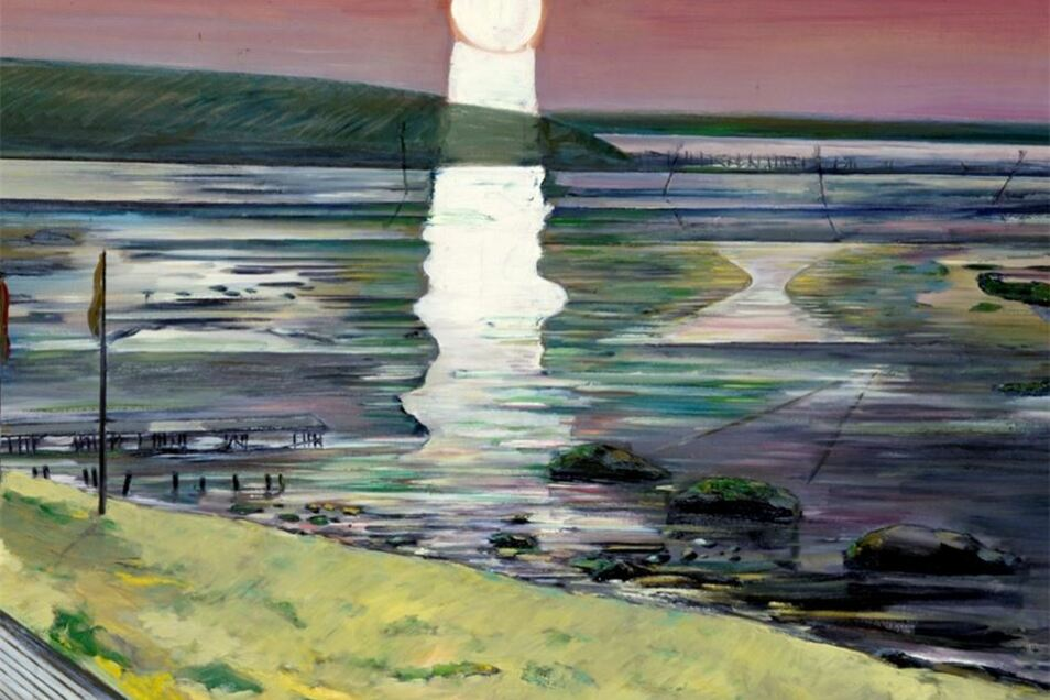 """Vollmond bei Hubertus Giebe: 2004 malte er das """"Wattenmeer bei Dangast"""". Das Bild ist derzeit leider im Depot des Albertinums."""