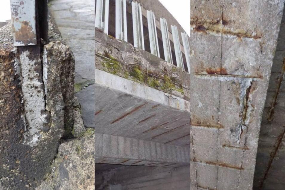 Die Betonkonstruktion ist erheblich beschädigt.