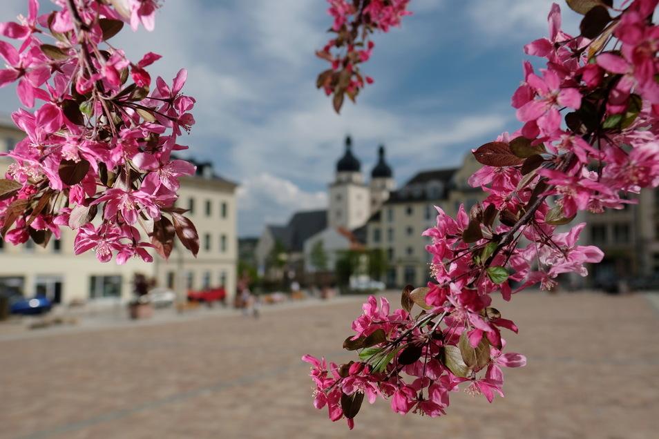 Blick auf die Plauener Innenstadt: Angesichts sinkender Corona-Infektionszahlen können Kinder hier nun wieder Kitas und Schulen besuchen, wenn auch im Wechselmodell.