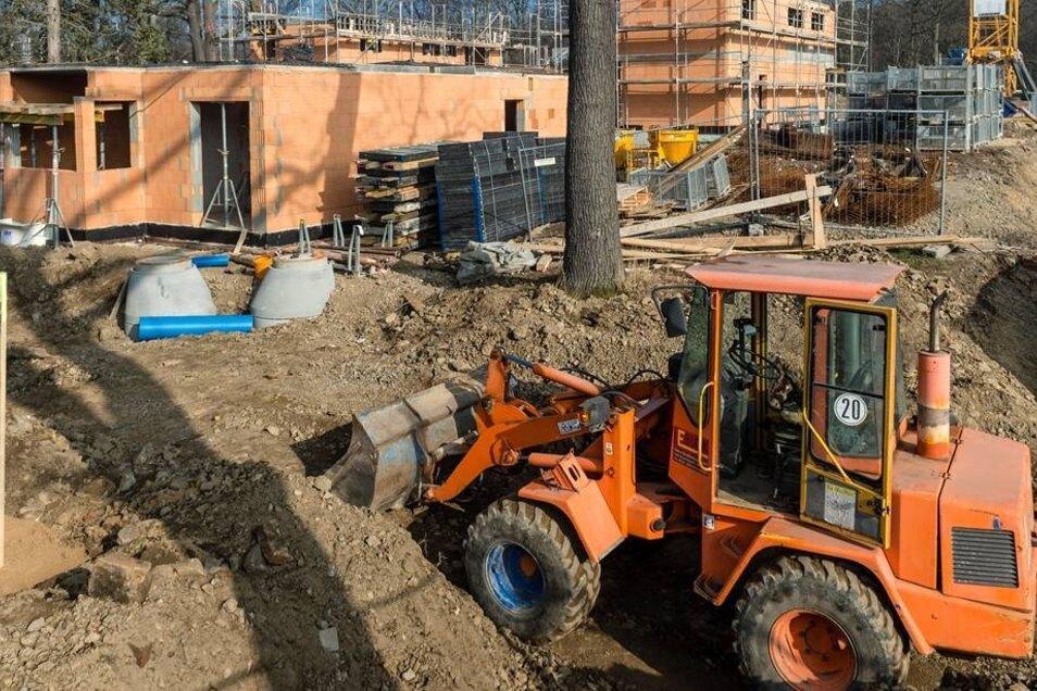 Auf dem Gelände entstehen 14 Eigenheime. Einige stehen schon im Rohbau. Die ersten Häuser sollen bereits im September bezugsfertig sein.