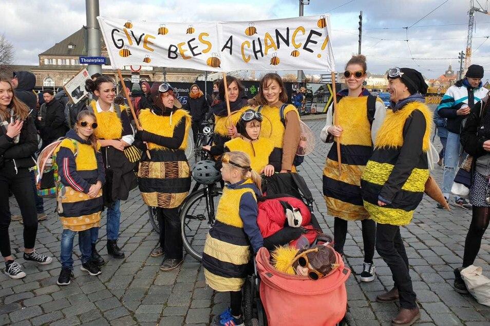 Manche Demoteilnehmer hatten sich für den Klimastreik extra verkleidet, um zum Beispiel auf das Bienensterben aufmerksam zu machen.