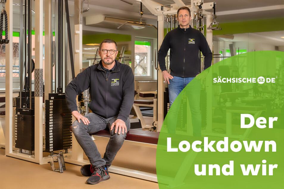 Alleingelassen im Fitnessstudio: Falk Noack (links) und Lars Weber, die Geschäftsführer des Thomas Sport Center in Dresden.