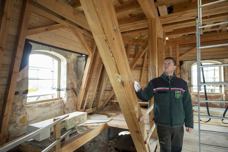 Das Hellhaus-Dach hat die Schalung dran. Revierfoerster Marko Groß zeigt den aktuellen Baustand.