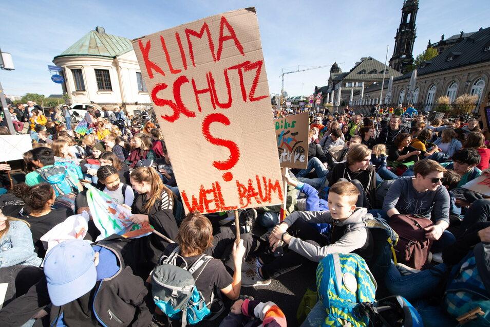 Wollen während Corona trotzdem Umweltakzente setzen: Anhänger von Fridays for Future bei einer Demo in Dresden vor Pandemie-Ausbruch.