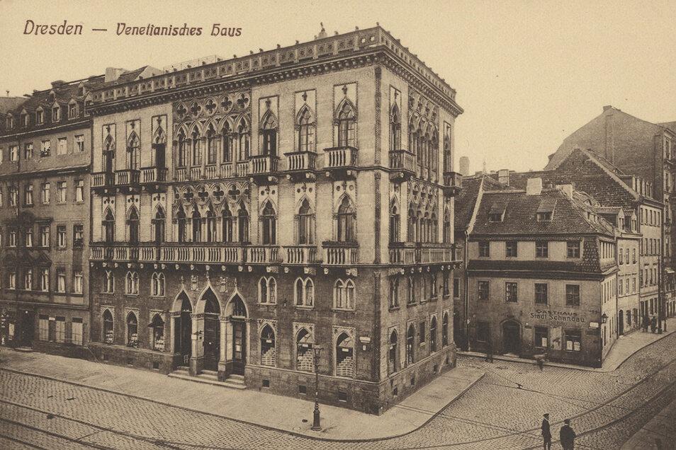 Die historische Postkarte aus der Sammlung von Holger Naumann zeigt das Venezianische Haus vor der Zerstörung 1945.