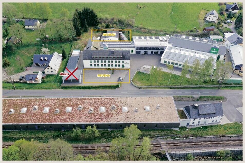 Ein Blick auf die Produktionshallen der Firma Herbrig in Bärenstein. Direkt an der Straße wird die Halle, wo bisher das V8-Werk war, abgerissen. Daneben entsteht eine neue Produktionshalle. Das Heizhaus auf der Rückseite wird durch eine Lagerhalle ersetzt