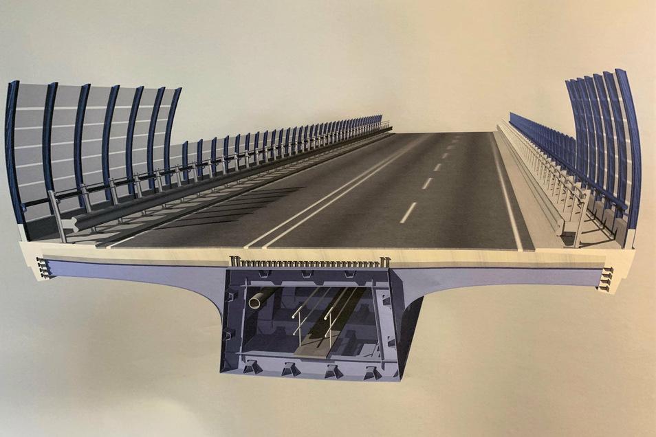 Blick auf den Brückenquerschnitt: In Pirna entsteht derzeit die Grundkonstruktion, ein stählerner Hohlkasten, unten im Bild zu erkennen. Die Fahrbahn wird später wesentlich breiter.