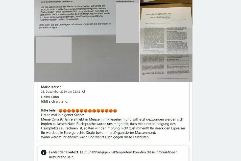 Bei Facebook wird gegen eine angebliche Impflicht bei der Diakonie Meißen gehetzt. Das Internetportal Correctiv hat den Schwindel in einem Faktencheck aufgedeckt.