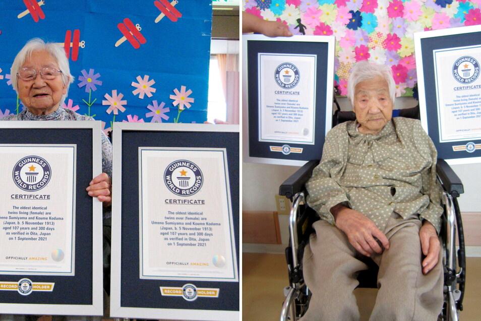 Die Schwestern Umeno Sumiyama (l) und Koume Kodama sind die ältesten lebenden eineiigen Zwillinge der Welt.