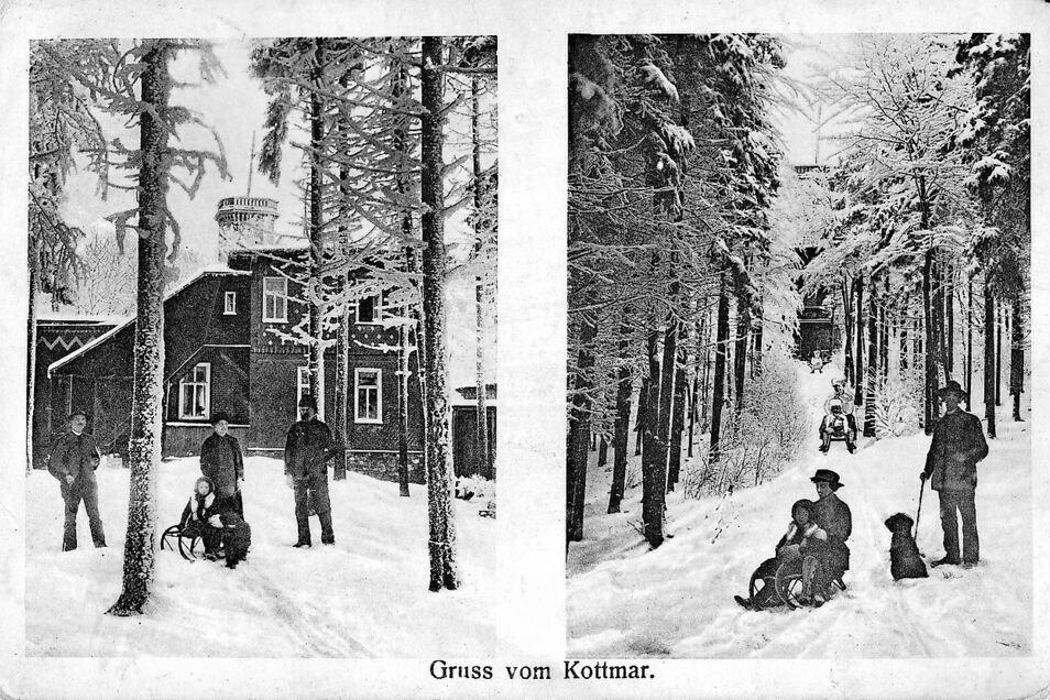 Auch im Winter waren Aussichtsturm und Baude auf dem 583 Meter hohen Kottmar beliebtes Ausflugsziel, wie diese um 1900 erschienene Postkarte zeigt.