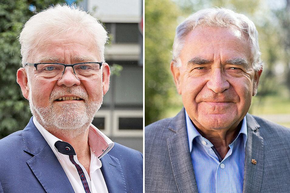 Elbgalerie-Manager Andree Schittko (l.) kritisiert die Edeka-Pläne für Riesas Innenstadt. Manfred Kuge wehrt sich dagegen.