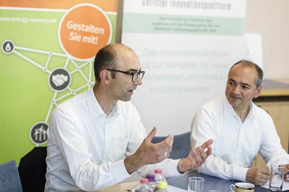 Lukas Rohleder (links) im Gespräch mit dem OB, hier bei einem früheren Treffen. Der Chef von Energy Saxony unterstützt die Pläne Octavian Ursus.