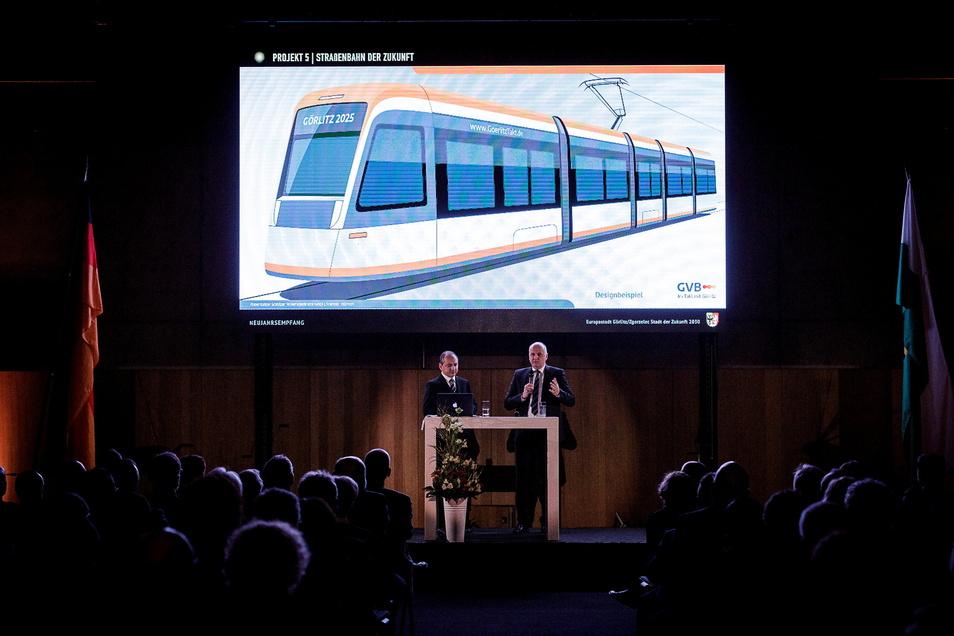 Beim Neujahrsempfang 2020 stellte Trillmich das Projekt der neuen Niederflur-Straßenbahnen für Görlitz vor.