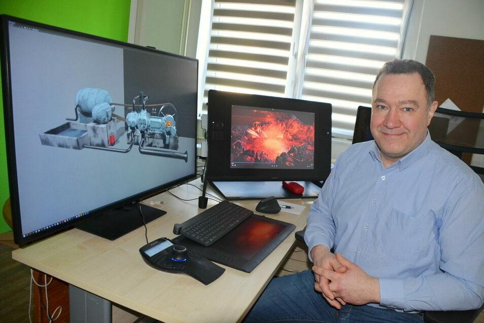 In Girbigsdorf hat Matthias Knappe sein kleines Büro. An seinem Arbeitsplatz entstehen außergewöhnliche Animationen.