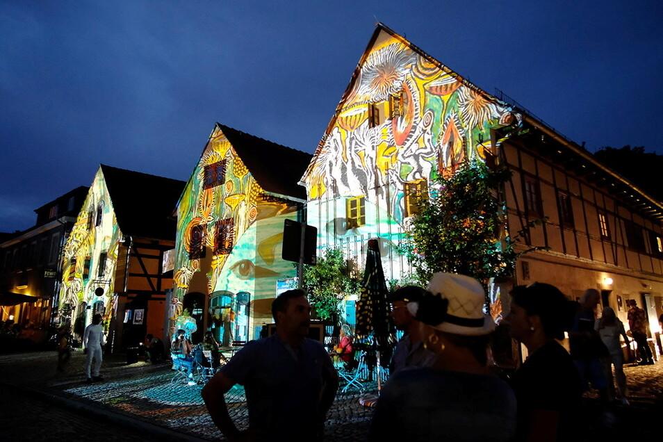 Lichtkünstlerin Claudia Reh setzte bereits im vorigen Jahr mit ihren Illuminationen die Häuser am Dorfanger Altkötzschenbroda besonders in Szene. Für Samstagabend hat sie neue Lichtbilder kreiert.
