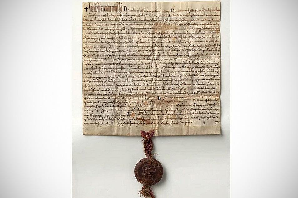 Erste urkundliche Erwähnung des Königsteins um 1241. Eine Nachbildung des Dokuments wird in China ausgestellt.